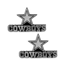 2pc NFL Dallas Cowboys 3-D Chrome Plastic Auto Car Truck Emblem Made in USA