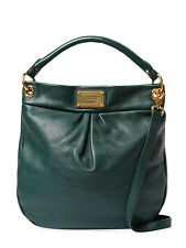 NWT MARC JACOBS Classic Q Hillier Leather Hobo Bag Dark Forest Green $428+ AUTH
