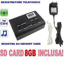 REGISTRATORE TELEFONICO DIGITALE SCHEDA SD 8GB INCLUSA. MICROSPIA SPIA CIMICE