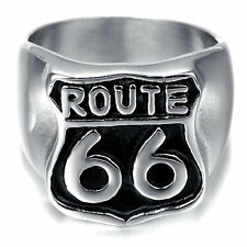 US route 66 Men's 18k Gold Plated biker Ring vintage club band Ring Size 10