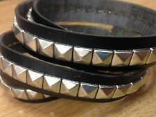 Cristen Dorman Stud Black Faux Leather Trim Strap by metre pyramid silver studs