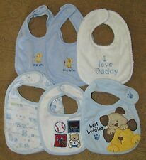 Lot of 6 GERBER ~ FIRST MOMENTS ~ JUST ONE YEAR  Boys' Bibs  0-6 Months  NWOT