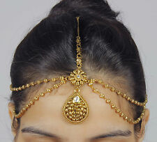 MP-16 Indian Hair & ForeHead Matha Patti Gold Plated Kundan Design Chain Jewelry