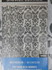 Paisley Print 100% Polyester Shower Curtain by Interdesign Black White  72x72