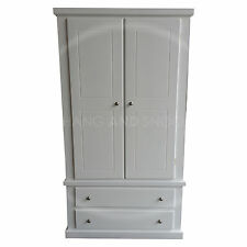 HAND MADE DEWSBURY FURNITURE 2 DRAWER WARDROBE WHITE SILVER HANDLES (ASSEMBLED)