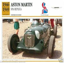 ASTON MARTIN SPA REPLICA 1947 1949 CAR GREAT BRITAIN GRANDE BRETAGNE CARD FICHE