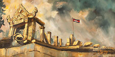 "Asian Original Wall Art Oil Painting Canvas - Cambodia Temple 20.5cmx40cm 8""Tall"