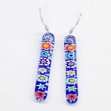 Sterling Silver & Murano Glass Millefiori Drop Earrings - Blue