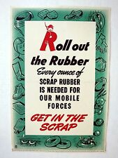 Vintage 1940s WWII Poster from Canada Scrap Rubber is Needed!