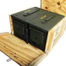 2 - M2A1 50cal Ammo Cans/Ammo Box in Military Surplus Wood Ammunition Crate