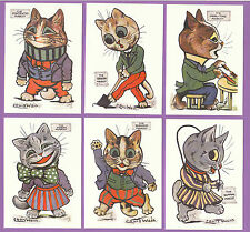 CATS  -  CRYSTAL  CAT  CARDS  -  SET  OF  6  LOUIS  WAIN  CAT  CARDS  -  MASCOTS