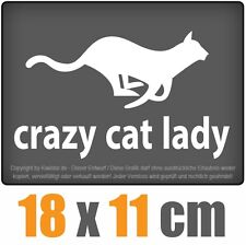 crazy cat lady 18 x 11 cm JDM Decal Sticker Auto Car Weiß Scheibenaufkleber
