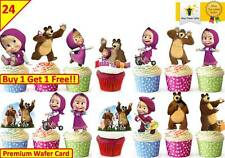 48 Masha And The Bear Birthday Cup Cake Edible Decorations Toppers STAND UP