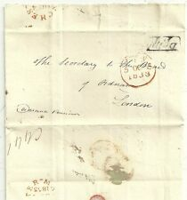 * 1833 DELPH PENNY POST CROWN FREE LETTER TO BOARD OF ORDNANCE RE PAUPER LUNATIC