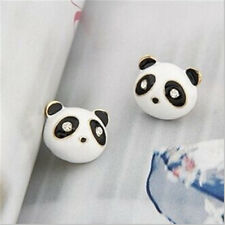 1 Pair Women Panda Rhinestones Earrings Animal Ear Studs Jewelry Accessories