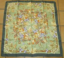 T. Beau Grand foulard vintage twill  soie silk scarf TBE fruits