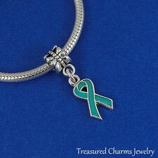 Silver and Teal AWARENESS RIBBON Ovarian Cancer EUROPEAN Dangle Bead CHARM *NEW*