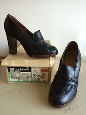 Vintage 70s stack talon cuir escarpins & boîte rétro secrétaire mod gogo uk 4.5