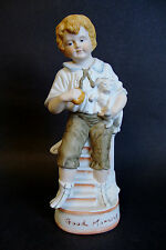 "Bisque Porcelain Figurine *Good Morning* Boy with Puppy -Off White/Brown 10""H"