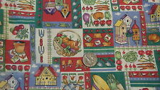 """Vintage Cotton Fabric Pc GARDENING ITEMS  PATCHWORK 23""""X53"""", Fabric Tradition"""