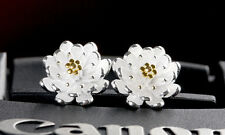 925 Sterling Silver Plated Cute Small Two Tone Lotus Flower Stud Earrings Gift