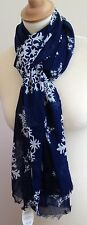 NEW 100% COTTON WOMEN'S BLUE SNOWFLAKE PRINT SCARF