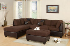 Reversible Modern Chocolate  Color 3 piece Microfiber Sectional Sofa + Ottoman