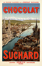 SWISS CHOCOLATE, 1905 Vintage Advertising Poster Giclee Canvas Print  20X30