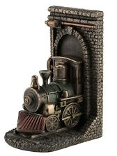 "8"" Steampunk Locomotive Out of Tunnel Bookend Decor Statue Train Figure"