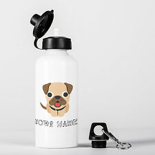 Personalised Pug Dog Cute Animal Children Customizable Aluminium Water Bottle