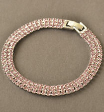 Bright Much Row Pink Cubic Zirconia 9k White Gold Filled Womens Bracelet F5973
