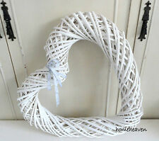 White Hanging Heart Wicker Willow Large Wall Art Shabby chic Farmhouse