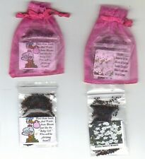 25 HOT PINK * BABY GIRL * FAVORS  STORK THEME  with  BABY'S BREATH SEEDS + POEM