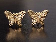 Child's Baby Kids Enamel Butterfly  Stud Earrings 14K Yellow Gold Screw Backs