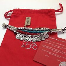 "NWT Uno de 50 Silvertone Coins/Red/Turquoise Beads Bracelet 7"" $199"