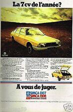 Publicité advertising 1975 Simca 1307 Simca 1308 Chrysler