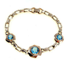 Vintage Art Deco Faux Blue Zircon Gold Filled Bracelet