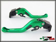 Honda CB599 CB600 HORNET 98- 2006 Strada 7 Short Carbon Fiber Inlay Levers Green