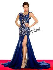 61041R Navy MacDuggal Lace Gown Party Evening Formal Dress Prom Size USA 6