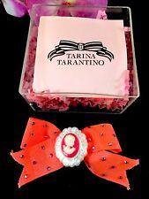 NIB TARINA TARANTINO NEON FUCHSIA CLOTH RHINESTONE CAMEO RIBBON BOW HAIR CLIP