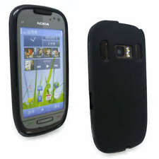 Black Jelly Gel Case Cover for Nokia C7-00 + Screen Grd