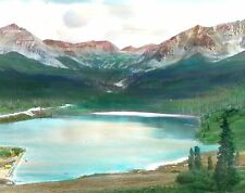 """TROUT LAKE COLO OLD CAR HAND TINTED GLASS SLIDE 3 1/4""""x4"""" EARLY1900 #G36"""