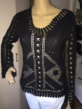 SAY WHAT?  Black crochet knit sweater, open weave, super cute!  size Small