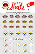 Set of 32 Pittsburgh Steelers Vinyl Peel and Stick Nail Decals FAST SHIP PS01-32
