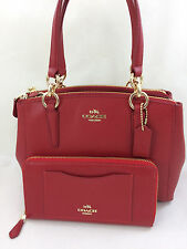 New Coach F36704 Mini Christie Carryall Satchel Handbag Purse Bag Red + Wallet