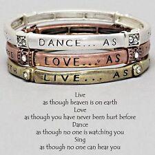 Love Live Dance Sing Bracelet Stretch Bangles SET of 3 Inspirational COPPER