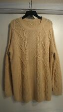 Gianni Bini NWT $99 LG Soft Rabbit Hair Beige Long Sleeve Cable Knit Sweater