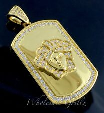 New! 14k Gold gp Medusa Head MICRO Dogtag Simulate Diamond Pave Iced Out Pendant
