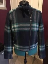GAP Womens Plaid Jacket Coat Navy Blue Green Gray Wool Quilted M 6 8 10 Moto