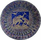 "Indian Blue 16"" Round Elephant Cushion Pillow Cover Silk Brocade Throw Decor"